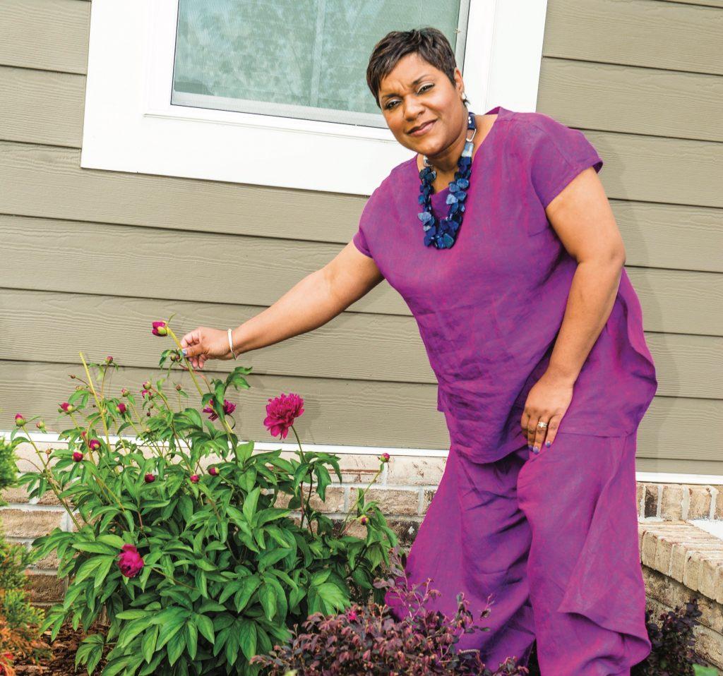 Foodbank CEO Ruth Jones Niichols at home garden