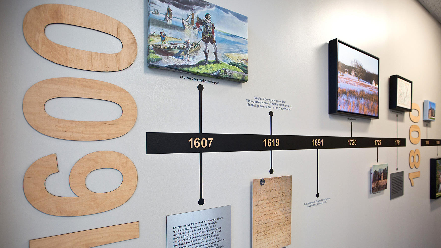 Newport News Tourism Office, wall timeline of the city's history