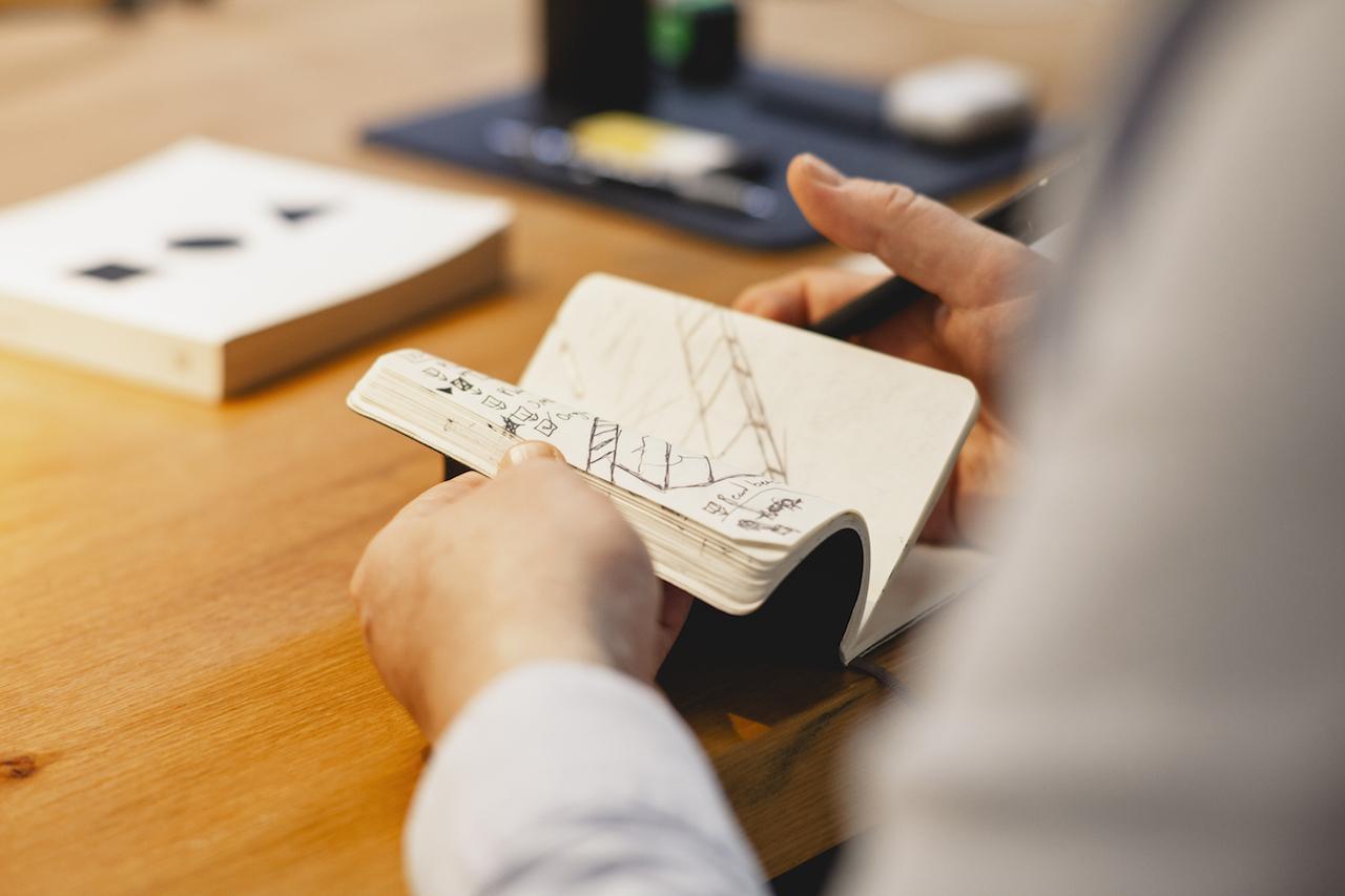 sketchpad on Joe Branton's desk at Grow, Norfolk