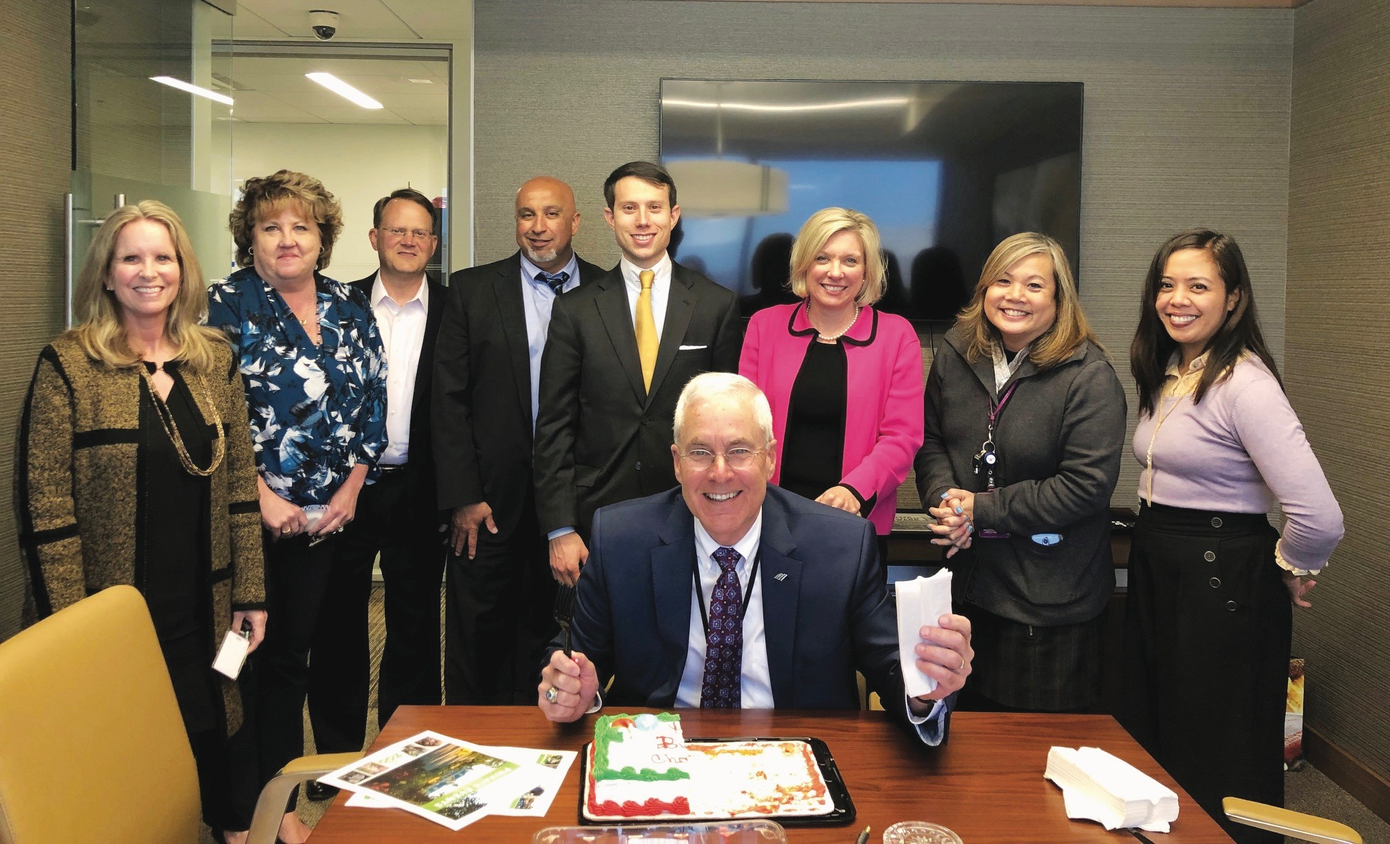 Bank of America, colleagues celebrating a birthday