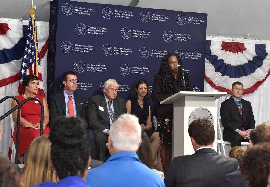 Clinic Director Dr Iman Williams Christians speaking during Grand Opening event
