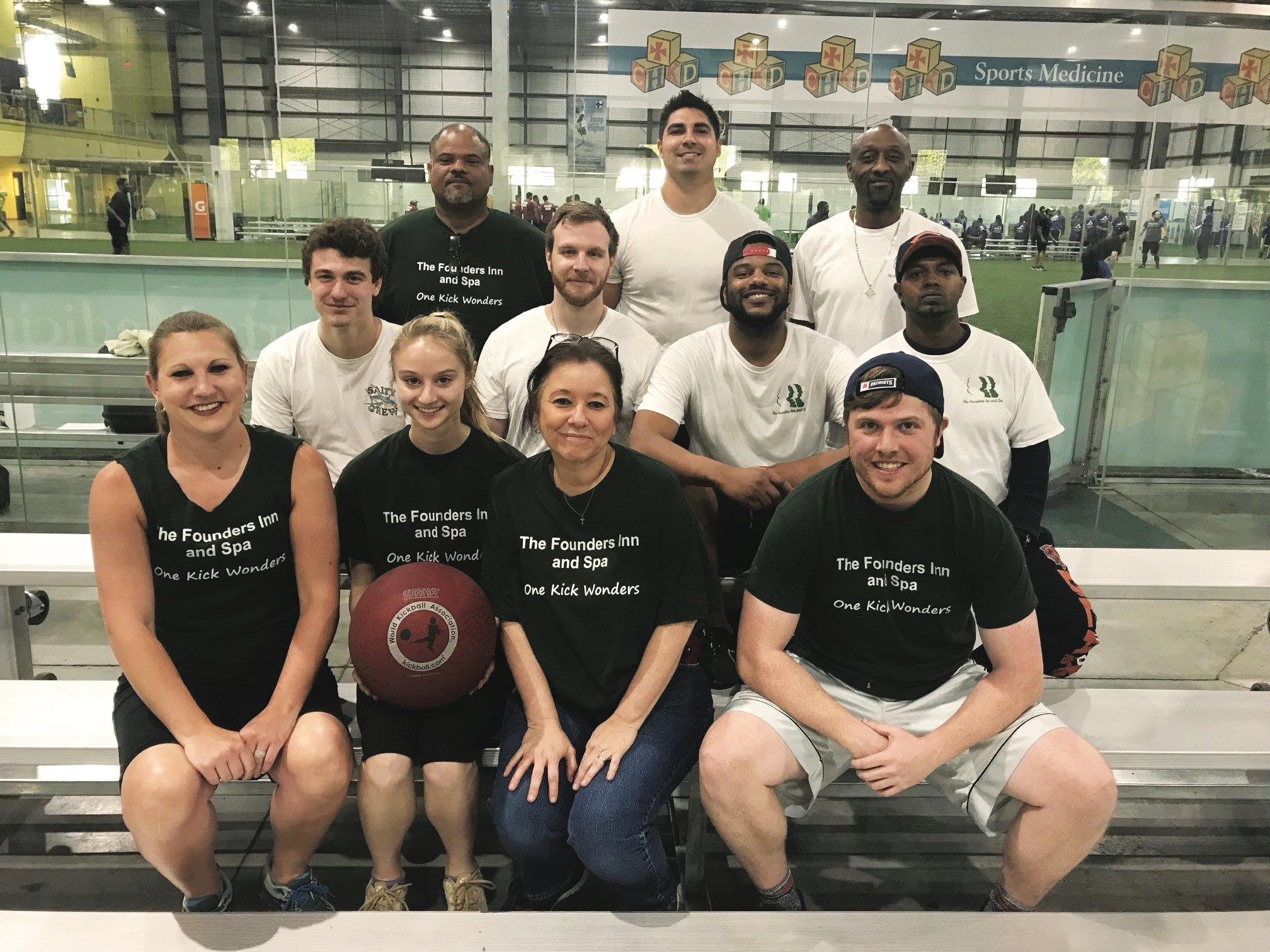 Founders Inn employees playing kickball