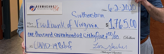 Dermacare Organizes $1,765 Donation to the Foodbank of Southeastern Virginia